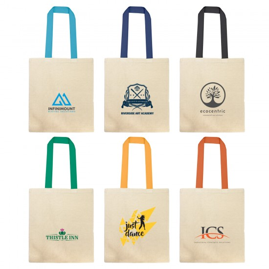 Printed Cotton Tote Bag With Coloured Webbing Handle